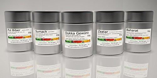 5 Dosen Afrika Gewürze Geschenk Set-2, Dukka Gewürz, Pulbiber extra scharf, Sumach gemahlen, Zatar, Baharat