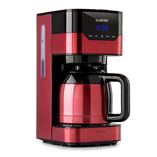 Klarstein Kaffeemaschine Arabica mit Filter - Filter-Kaffeemaschine, 800 Watt, EasyTouch Control, 1.2 L, bis 12 Tassen, inkl. Permanentfilter, rot/schwarz