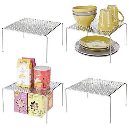 mDesign Geschirrablage für die Küche – freistehendes Tellerregal aus Metall – Küchenregal für Tassen, Teller, Lebensmittel usw. – 4er-Set – silberfarben