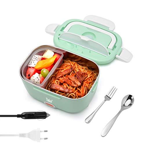 Timker Elektrische Lunchbox 24V 12V 220V 3 IN 1 Auto Büro Elektrische Lunchbox,herausnehmbarer Edelstahlbehälter 304, Edelstahllöffel und -Gabel, neues 4-PIN-Auslassdesign und Schalter