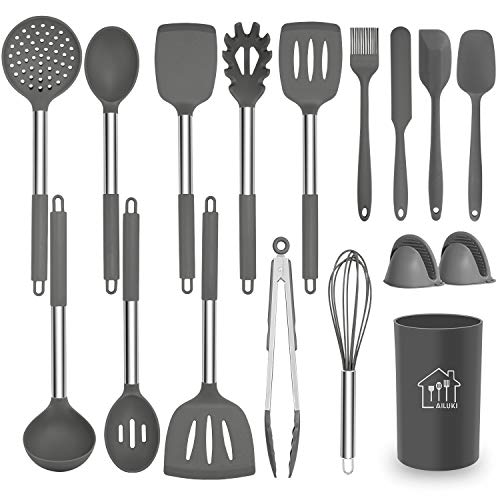 AILUKI Silikon Kochgeschirr Set, Küchengerät 17 teiliges Küchenhelfer Set, Antihaft Hitzebeständiger Silikonspatel Set, Küchenutensilien mit Edelstahlgriff Grau
