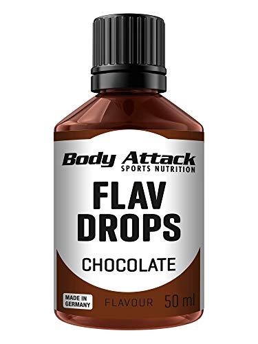 Body Attack Flav Drops®, 50 ml, Chocolate, Aromatropfen für Lebensmittel, zuckerfreie Flavour Drops ohne Kalorien, vegan & Qualität Made in Germany