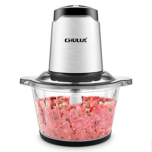 Zerkleinerer Elektrisch, CHULUX Universalzerkleinerer mit Groß Glasbehälter, 2 Geschwindigkeitsstufen,Multizerkleinerer für Fleisch, Obst, Gemüse und Babynahrung