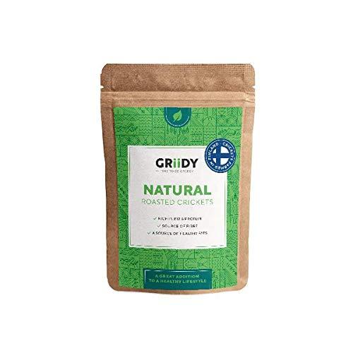 Griidy Natural, Geröstete Grillen zum pur Essen oder Verfeinern von Müsli, Smoothie oder Salat, 22 g, circa 150 Stück
