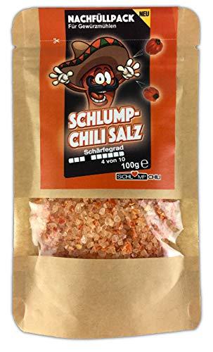 Schlump-Chili⎥CHISA⎥Habanero Chili Salz mittelscharfes Nachfüllset für Gewürzmühlen mit Edelstahl- oder Keramikmahlwerk (1 x 100 g)