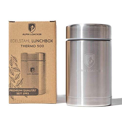 Alpin Loacker Edelstahl Thermobehälter 500ml - Robuster Thermo Essensbehälter - Vakuumisolierter Suppenbehälter to go - Umweltfreundlicher Isolierbehälter für Camping Essen