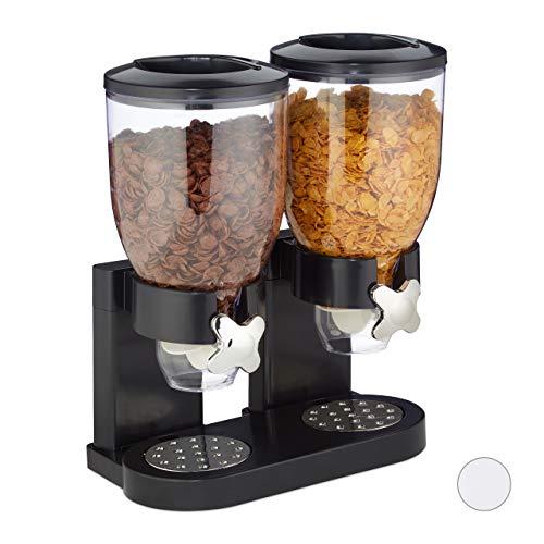 Relaxdays Müslispender doppelt, mit Portionierer, Cornflakes & Süßigkeiten, HBT 41x32,5x19 cm, Cerealienspender, schwarz 10026444_46