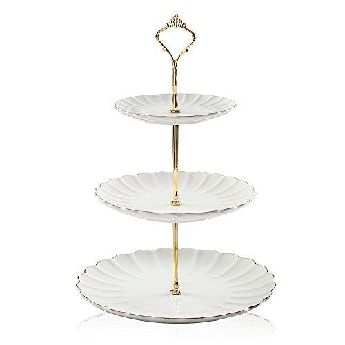 Sweejar Home 3-stöckiger Keramik-Kuchenständer, Etagere für Hochzeit, Dessert, Cupcake-Ständer für Teeparty, Essens-Servierer, Display (weiß)