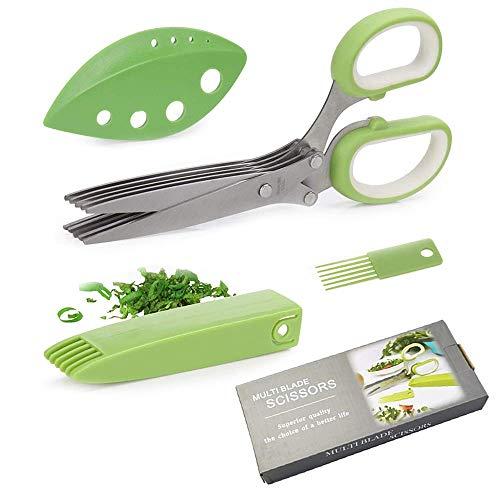 Feliciay Gourmet Scissors Set Kräuterschere Mehrzweckschneideschere mit 5 Edelstahlklingen für Hühnchen Geflügelfleisch Fischsalat Gemüse Petersilie Koriander Geschirrspüler Safe