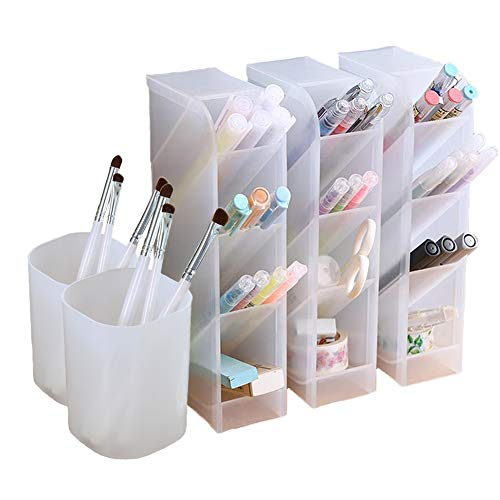 Schreibtisch-Organizer, Stift-Regal für Büro, Schule, Heimbedarf, durchscheinend, Weiß, 3 Regale, 2 Becher, 16 Fächer (weiß), 5-teilig 5 Pcs Pen Holder
