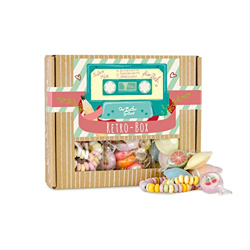 Retro Box, toller Süßigkeiten-Mix aus Deiner Kindheit, 94 Gramm Naschfreude in einer hochwertigen Box, Kindheitszauber und Retroklassiker vereint