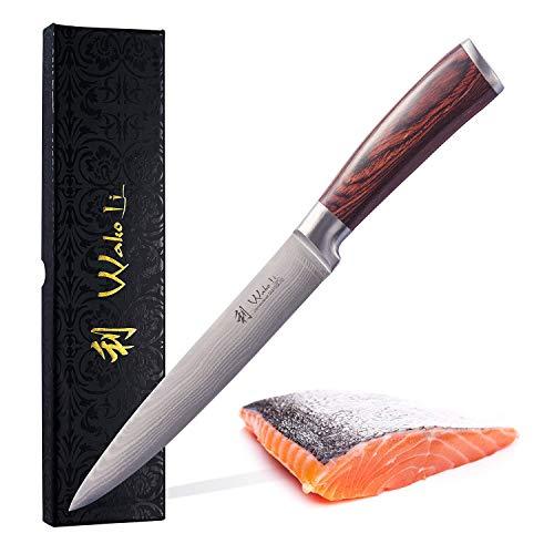 Wakoli EDIB Damastmesser Fleischmesser 18cm Klinge extrem scharf aus 67 Schichten I Scharfes Damast Küchenmesser und Profi Kochmesser aus echtem Damaststahl mit Pakkaholz Griff