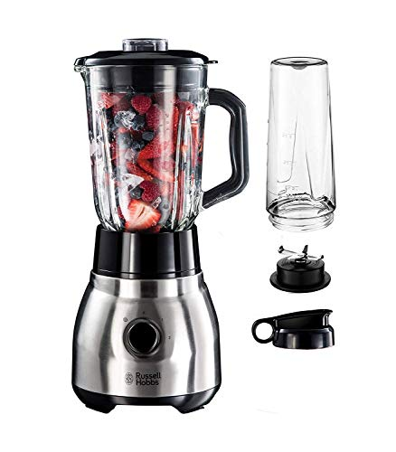 Russell Hobbs Standmixer Glas Steel 2-in-1, inkl. To-Go-Becher & Deckel, 1.5l Glasbehälter, Mixer 0.8 PS-Motor, Impuls-/Ice-Crush Funktion, mini Smoothie-Maker 23821-56 [Exklusiv bei Amazon]