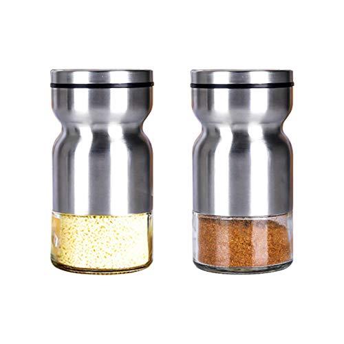 HshDUti 2 Stücke Salz und Pfefferstreuer Set, Salzstreuer Gewürzstreuer in Sanduhrform mit einstellbarem Gießloch, Küche Aufbewahrungszubehör für Meersalz Gewürze Edelstahl