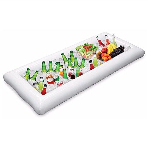1 Stücke Aufblasbare Buffet serviert & Salat Bar EIS Eimer Essen Kühler Aufblasbare Bier Trinken Tablett, Essen Trinken Halter BBQ Picknick Pool, mit Ablaßschraube