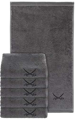 Sansibar Gästetuch 6er Set 30x50 cm mit gesticktem Säbel Logo Set Handtuch Seiftuch 100% Baumwolle Anthrazit