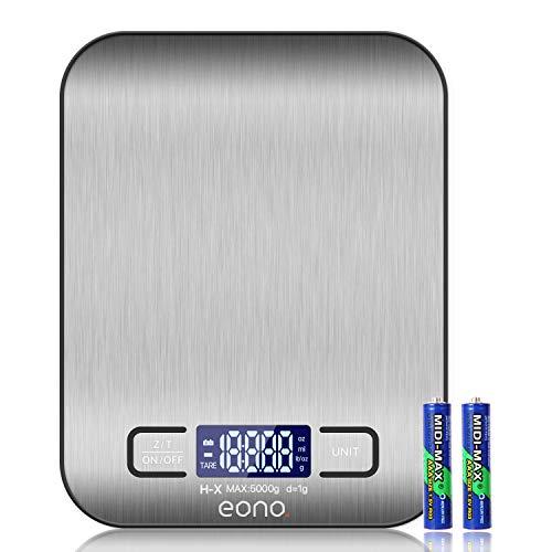 Amazon Brand – Eono Digitale Küchenwaage, Premium Edelstahl-Lebensmittelwaage, wiegt Gramm und Unzen zum Backen und Kochen 5kg/1g - 15Jahre Garantie