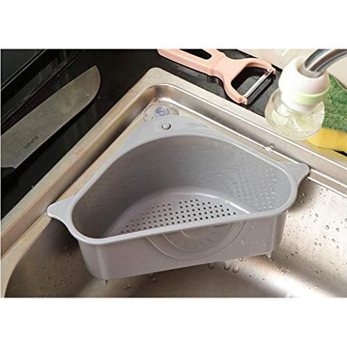 AMhomely 2 Stück Waschbecken Filterablage Dreieck-Lagerregal - Seiher Sieb Set Klappbar Abtropfsieb über die Spüle Vegtable/Obst Küche Sieb Teesieb mit ausziehbaren Griffen (grau)