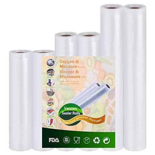 Vakuumrollen Folienrollen Vakuumbeutel für Vakuumierer Folienschweißgerät - 2 Rollen 15cm x 300cm und 2 Rollen 20cm x 300cm und 2 Rollen 28cm x 300cm mit Lebensmittel Sous Vide BPA-frei und Kochfest