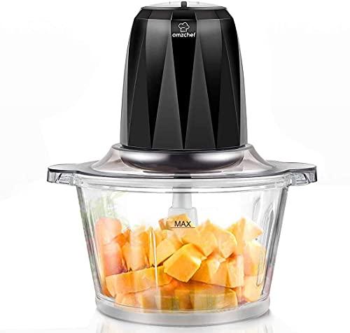 AMZCHEF Zerkleinerer Elektrisch mit 2 Geschwindigkeitsstufen,Bremsfunktion,1,8L BPA Frei Glasbehälter für Fleisch,Gemüse,Obst,Zwiebel und Kartoffel,4 Edelstahl-Messer,400W Max Multi-zerkleinerer