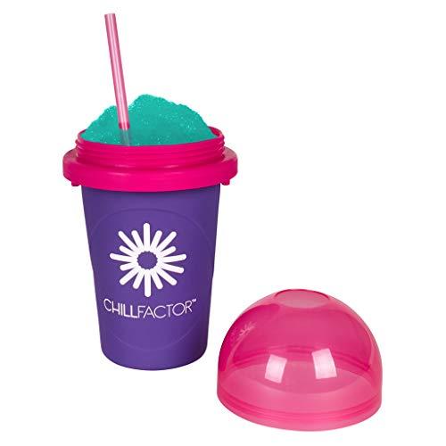 Slushy Maker Chillfactor Magic Freez | Slush Ice Becher mit Strohhalmlöffel | Eisbecher Glas Alternative für Eis selber machen | Slush Ice Maker (Brombeere)