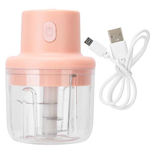 Elektrische Küchenmaschine, 250ml Pink Electric Fleischwolf Food Chopper Mini Küchenschredder USB-Aufladung