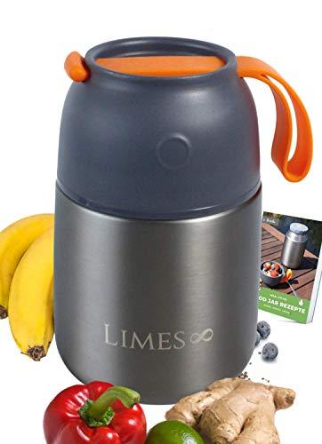 Limes 8 Thermobehälter für Essen 500ml Thermo Lunchbox | Edelstahl Warmhaltebehälter | Essensbehälter für Babynahrung, Suppen, Müsli to go | Speisegefäß BPA frei