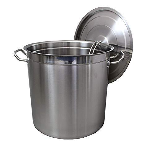 Euro Tische Gastronomie Kochtopf Suppentopf - 20 bis 100 Liter Edelstahl Kochtöpfe - ideal geeignet für ALLE Herdarten & große Küchen - Gastro Topfset (20L)