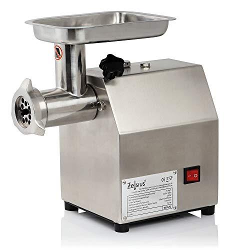 Zelsius Profi Fleischwolf elektrisch I Faschiermaschine aus Edelstahl, Wurstmaschine in Gastro Qualität I Fleischmaschine mit Wurstfüller (250W - 75kg/h)