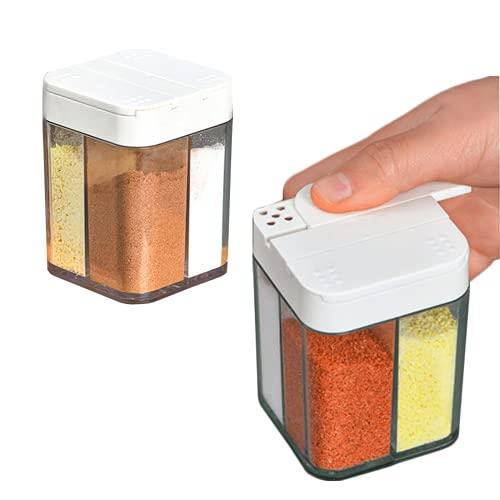 2 Pack Gewürze Gewürzstreuer Salz und Pfefferstreuer Vier in One Gewürzdosen Spice Box Kunststoff für Küche Camping Gewürzbox