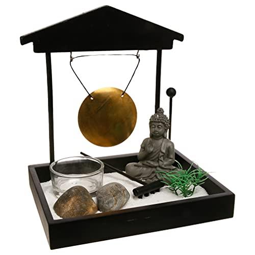 Zen-Garten Buddha mit Gong auf Platte