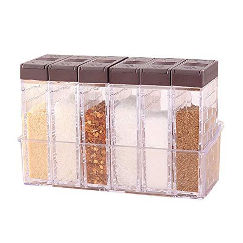 nuosen 6er Set Salz- und Pfefferstreuer Gewürzbox Kunststoff Camping Gewürzbox für Aufbewahrung Küche Gewürze