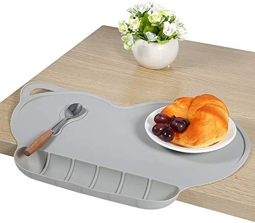 BETOY Tischsets Platzset Tischsets für Kinder, rutschfeste Baby-Essmatte mit Silikonabsaugung Tragbare, zusammenklappbare, personalisierte Tischsets für Kinder (grau)