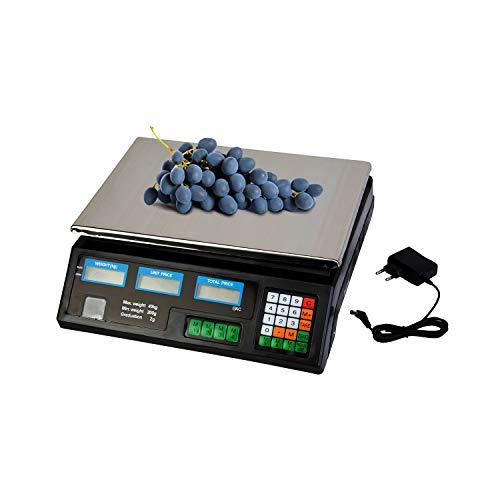 Waage mit Ladekabel LCD Display - Digitale Ladenwaage - Preisrechenwaage - Digital Preiswaage - Tischwaage - Ladenwaage geeicht - Tischwaage bis 40 kg