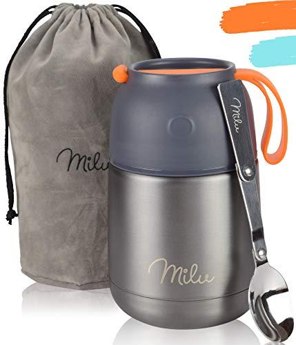 Milu® Thermobehälter 450, 650ml   Edelstahl Warmhaltebehälter   Essensbehälter   Speisegefäß Baybnahrung   Essen warmhalten Behälter   Thermo Lunchbox   Müsli to go   (Grau, 450)