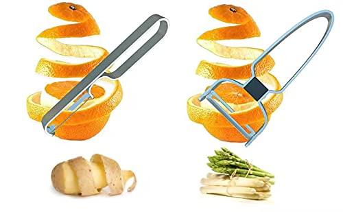 Spargelschäler Edelstahl 15cm für Spargel Zucchini 2er-Set Obst-Gemüseschäler Kartoffelschäler Pendelschäler Pendelklinge 15cm für Äpfel, Linkshänder & Rechtshänder,Zweischneidig.