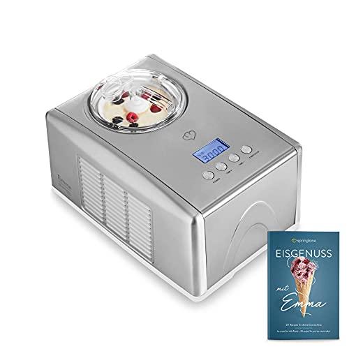 Eismaschine Emma 1,5 L mit selbstkühlendem Kompressor 150 W, aus Edelstahl mit entnehmbarem Eisbehälter, inkl. Rezeptheft
