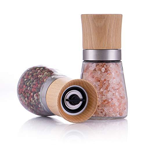 Zolmer® Gewürzmühle 2er Set mit verstellbarem Keramikmahlwerk - Edle Salzmühle & Pfeffermühle aus hochwertigem Holz - Auch als Chilimühle [Ohne Gewürzinhalt]