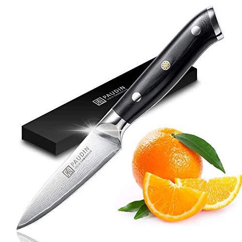 PAUDIN Damast Schälmesser 9cm Obst und Gemüsemesser Japanisches AU10 Küchenmesser Scharf Kochmesser mit ergonomischem schwarzem Micarta-Griff