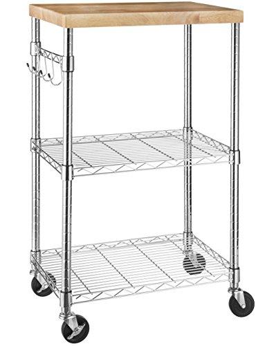 Amazon Basics - Küchenrollwagen, Holz/Chrom