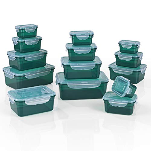 GOURMETmaxx Frischhaltedosen klick-it 14er Set | Spülmaschinen- Mikrowellen- und Gefrierschrankgeeignet | Deckel BPA-frei mit 4-Fach-klick-Verschluss | Ineinander stapelbar [4 Größen, smaragdgrün]