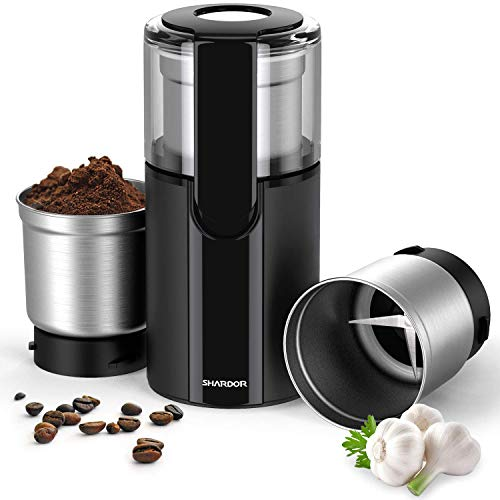 SHARDOR Kaffeemühle Elektrisch Gewürzmühle mit 2 Abnehmbare 70g Edelstahlbehälter für Kaffeebohnen Nüsse Gewürze Getreide Kräuter Zucker Mühle 200W Schwarz
