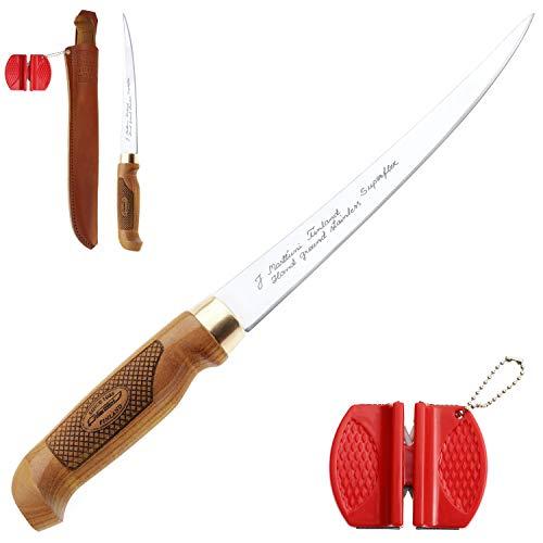 Marttiini Classic Superflex Filetier-Messer 30,6cm + Geschenkverpackung + RTX Messer-Schärfer/Filleting Knife & Sharpener Combo, extrem scharf & flexibel, für Fisch & Fleisch