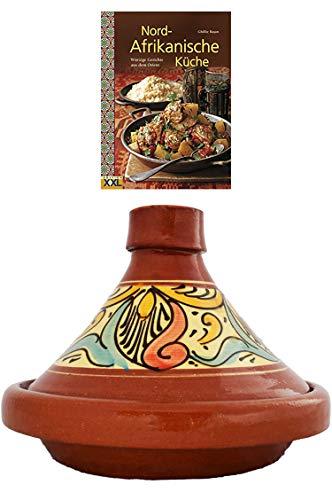 Marokkanische Tajine Topf zum Kochen + Kochbuch   Schmortopf glasiert Chaouen Ø 26cm für 1-3 Personen   inklusive Rezepte Buch Nord Afrikanische Küche   ORIGINAL Tontopf handgetöpfert aus Marokko