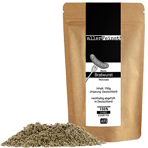 allerFeinst! - Bratwurst Gewürz - Basis Gewürzsalz für leckere Rostbratwurst, Grillwurst , 1er Pack (1 x 150g)