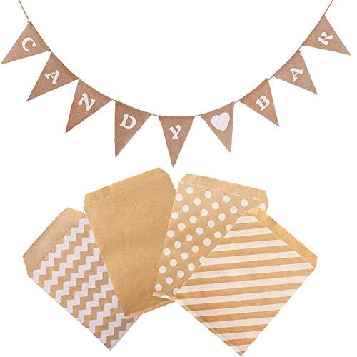 witgift Candy Bar Dekoration Zubehör,Candybar Girlande Banner + 100 Stück Papiertüten für Hochzeit Party Geburtstag Decor Event Supplies