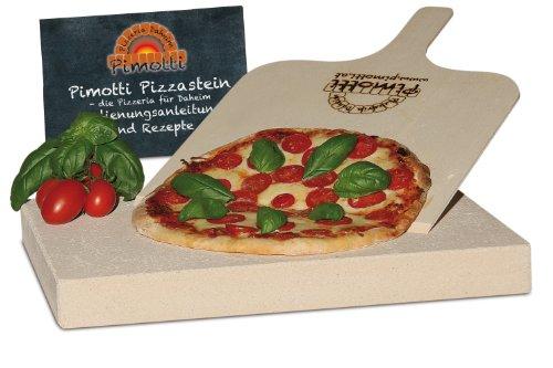 4cm Pimotti Pizzastein/Brotbackstein aus Schamott +Schaufel +Anleitung & Rezepte im Set