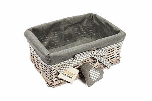 Woodluv Grey Wicker Rechteckige Aufbewahrung Geschenkkorb mit abnehmbarem Futter - Klein