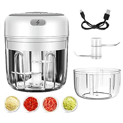 Elektrisch Mini Zerkleinerer, 250ml mini Elektrisch Küche Zerkleinerer für Food Processor Für Gemüse, Obst & Fleisch mit 100 ml Ersatzbehälter