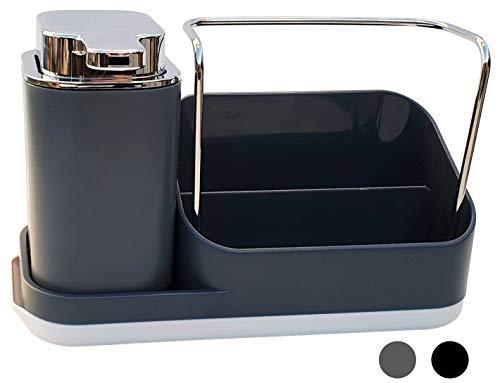 dreamhouse Premium Spülbecken Organizer für Küche, hochwertig und robust, Spüle, Abwasch, Sink Kitchen Schwammhalter Lappenhalter Spülorganizer Spülutensilien (Grau)